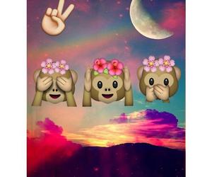 moon, emoji, and monkey image