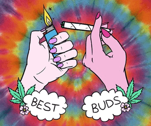 background, weed, and rainbow image
