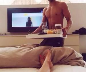 breakfast, girl, and tv image