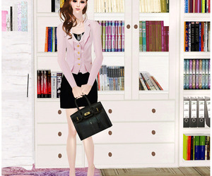 girl, pink, and work image