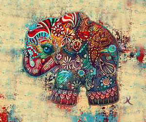 elephant, art, and colors image