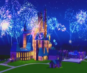 barbie, castle, and fireworks image