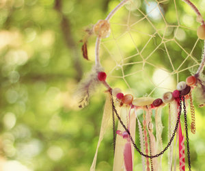 dreamcatcher, pink, and beads image