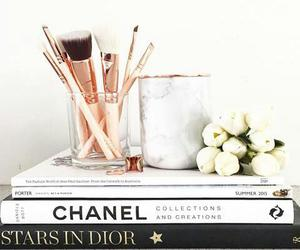 chanel, Brushes, and flowers image