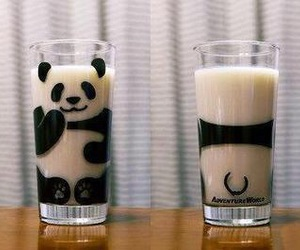 panda, milk, and glass image