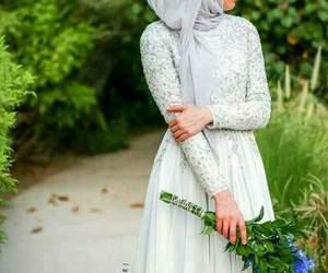 hijab, dress, and flowers image