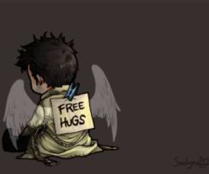 castiel, supernatural, and hug image