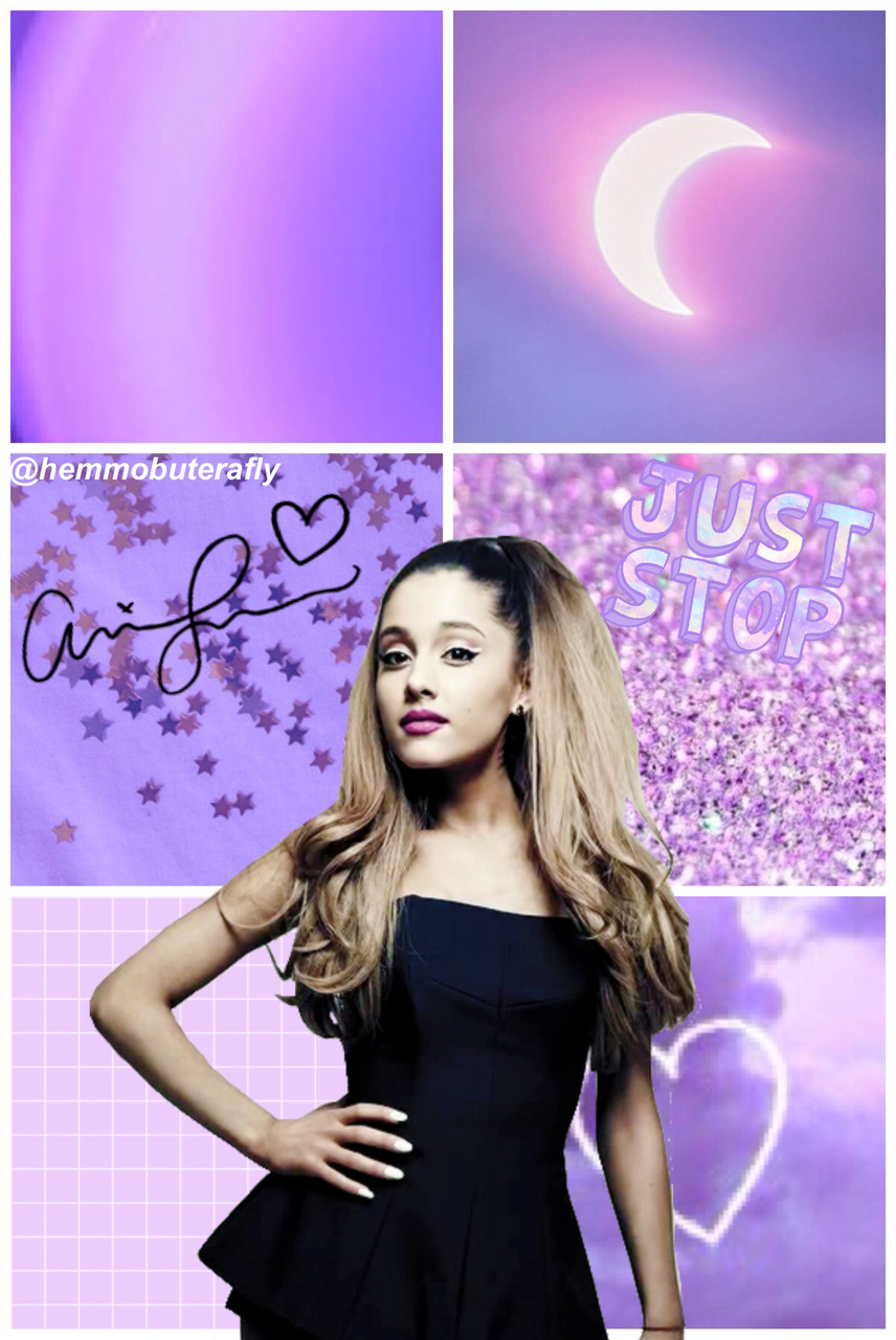 Ariana Grande Purple Collage Lockscreen Hemmobuterafly