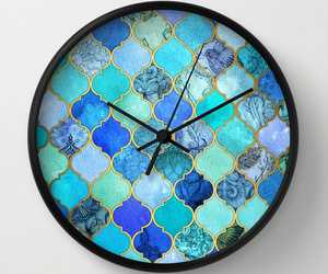 aqua, blue, and clock image