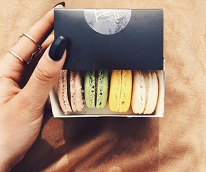 food, nails, and macarons image