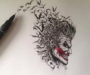 joker, art, and drawing image