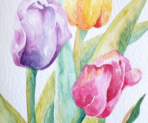 art, tulips, and watercolour image