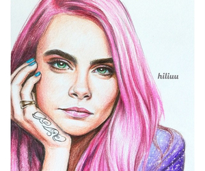 pink, draw, and hair image