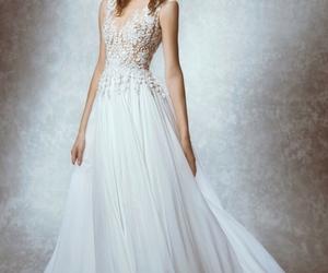 wedding dress, dress, and bride image