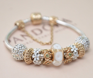 charms, white, and pandora bracelet image