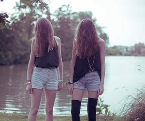 girl, lake, and twins image