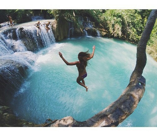 girl, paradise, and jump image