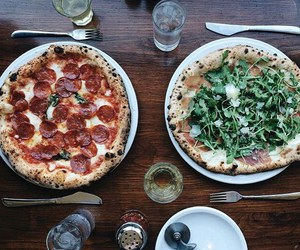 food, italy, and pizza image