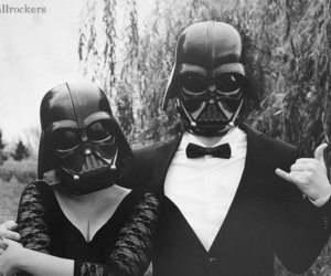 star wars, couple, and black and white image