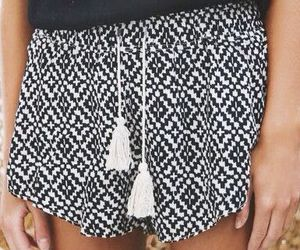 black and white, shorts, and clothes image