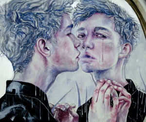 art, sad, and blue image