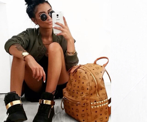 bag, gold, and sunglasses image