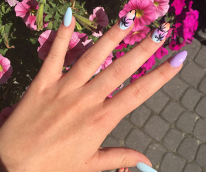 flowers, nails, and palm trees image