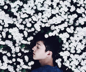 boy, flowers, and white image