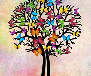 art, butterfly, and tree image