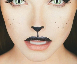 girl, cat, and Halloween image