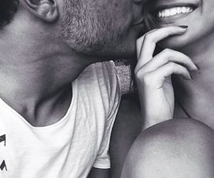 black and white, couple, and kissing image