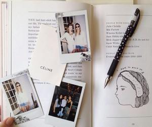 book, celine, and polaroid image