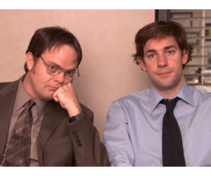 dwight schrute, jim halpert, and the office image