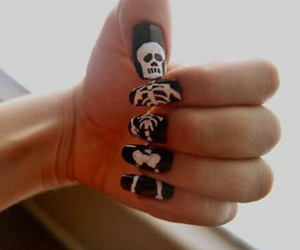 nails, skeleton, and black image