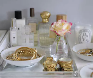 gold, perfume, and flowers image