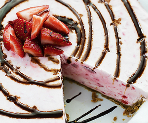 food, strawberry, and cheesecake image