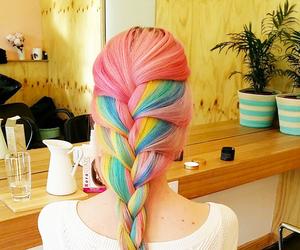 braid, hair, and pastel image