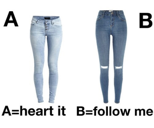jeans, follow, and follow me image
