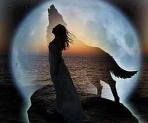 wolf, woman, and moon image