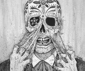 art, skeleton, and black and white image