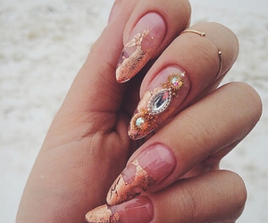 nails, diamond, and gold image