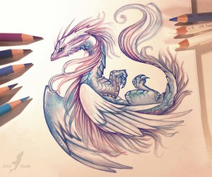 dragons, draw, and drawings image