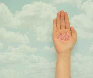 hand, heart, and clouds image