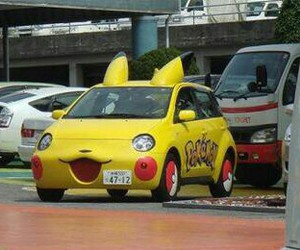 car, yellow, and pokeman image