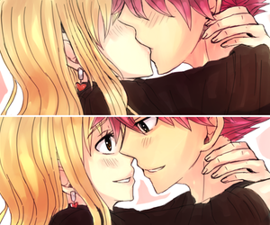 nalu, fairy tail, and kiss image