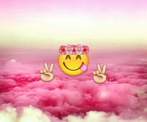 emoji, pink, and wallpaper image