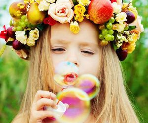 girl, flowers, and bubbles image