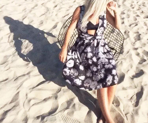 beach, shadow, and short dress image