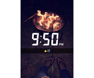 fire, marshmallows, and snapchat image