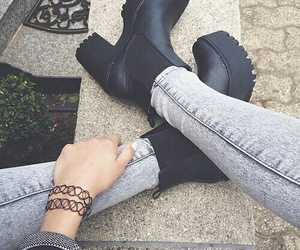 black, jeans, and booties image